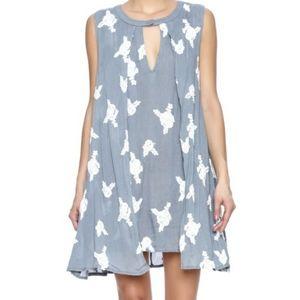 Honey Belle Grey Embroidered dress Medium